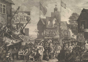 Southwark Fair, 1734. William Hogarth. The sign on the clock tower reads 'The Siege of Troy is Here'. Metropolitan Museum of Art.
