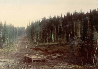 View of a Bridge Across the Chebula River. Chumay-Olenskaya Road. 1906-1908. Library of Congress.