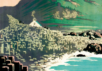 Antrim Coast, featuring the Giant's Causeway, depicted in a poster for the London, Midland and Scottish Railway. Artwork by R.G. Praill, c.1924.