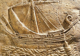 Relief portraying a Phoenician merchant ship, fourth century BC.