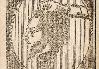 The decapitated head of Robespierre, wood engraving, 1794.