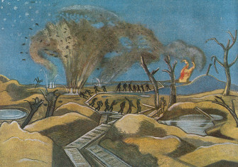 Shelling the Duckboards by Paul Nash, from British Artists at the Front, 1918.