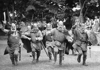 Members of the Danish Viking Olayers of Fredrikssund rehearse for a pageant marking the 75th anniversary of the Borough of Ramsgate, Kent