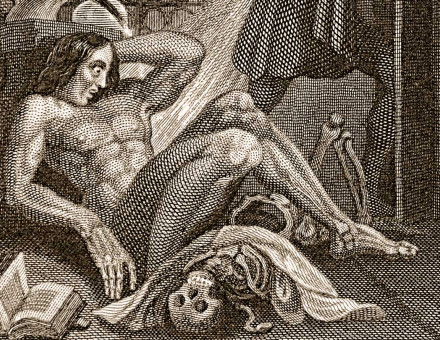 Detail from the Frontispiece to the first edition of Frankenstein, 1831. Courtesy Wikimedia/Creative Commons.