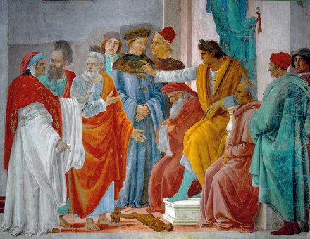 Peter and Paul quarrelling in front of Nero, fresco by Filippino Lippi, c.1482 © akg-images.
