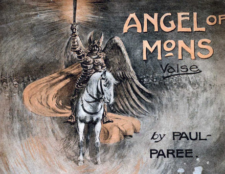 Sheet music for a waltz inspired by the Angel  of Mons, 1915. Alamy.
