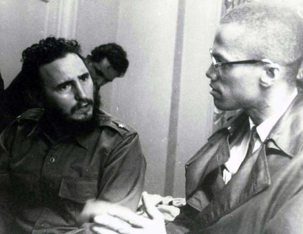 Meeting between Castro and Malcolm X in Harlem, 1960.