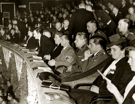 Nazi dignitaries, including Goebbels, at a film screening, c.1940.