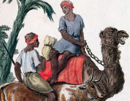 Gum merchants, Senegal River Valley region, coloured engraving, 1796.