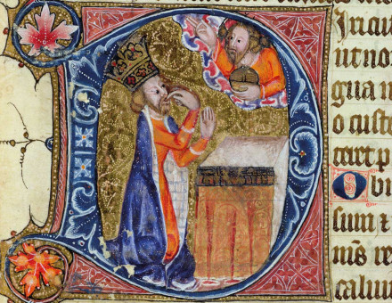 King David in an illustration for Psalm 38, from the Ramsey Abbey Psalter, c.1380.