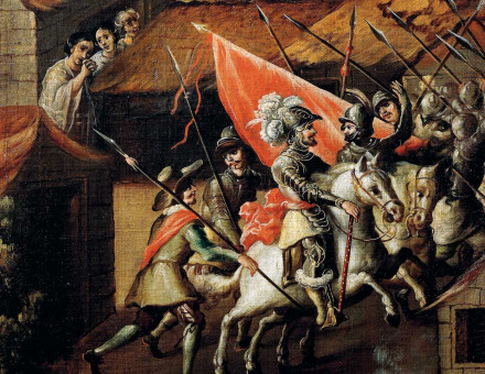 Hernán Cortés and his troops during the Noche Triste, Mexican, 17th century.