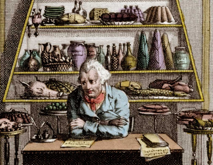 'Meditations of a Gourmand'. Coloured engraving from Almanach des Gourmands, 19th century.