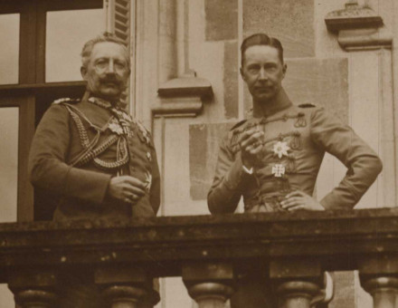Kaiser Wilhelm II (left) with his son, Wilhelm, German Crown Prince, during the First World War.