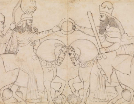 Drawing of Sasanian rock relief: Ardashir I (r. A.D. 224-241) and the Zoroastrian divinity Ahura Mazda at Naqsh-i Rustam, southern Iran A.D. 1860 (drawing)