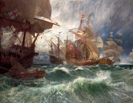 The Summons to Surrender: an Incident in the Spanish Armada, by George Vicat Cole, 19th century.
