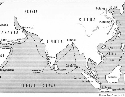 Cheng Ho's voyages  in the Indian Ocean. History Today map by  L. P. Thomas.