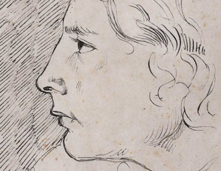 Double portrait sketch of Keats by Benjamin Haydon, 19th century