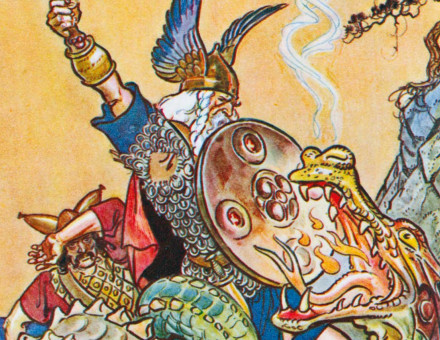 Beowulf fights with the dragon, from Stories of Legendary Heroes, illustration by Henry Matthew Brock, c.1930.