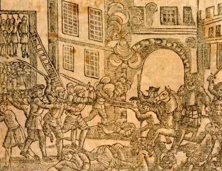 Royal troops fight Venner's rebels. Woodcut, 17th century © British Museum Images.