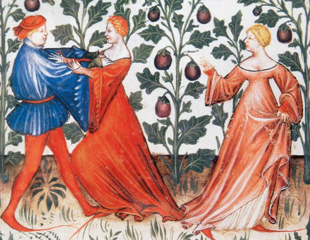 Man attacking a woman in a field of aubergines, Tacuinum Sanitatis, 14th century © Bridgeman Images.