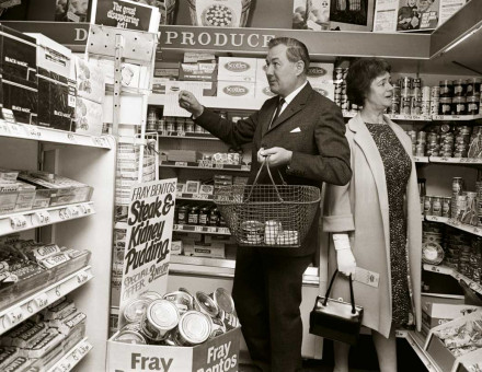 James and Audrey Callaghan shopping in an experimental decimal coinage supermarket,  12 May 1967.