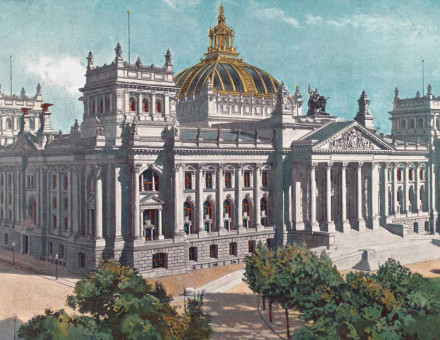 The Reichstag 1886, coloured print.