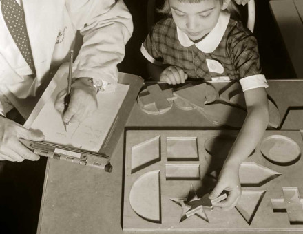 IQ testing using a 'form board', US, 1955.