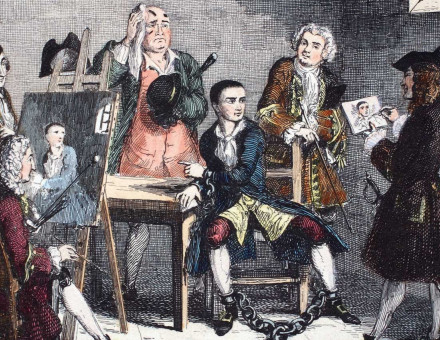 Jack Sheppard sits for Hogarth (right) and Thornhill (left), while talking to James Figg. Engraving by George Cruikshank, 1839.