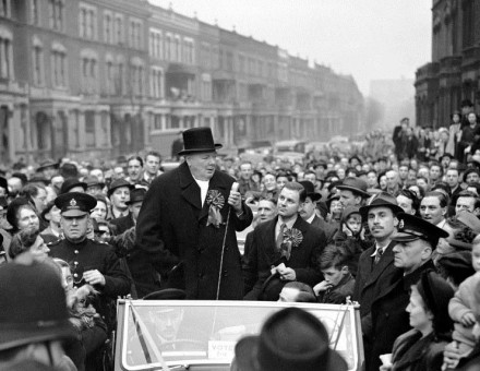 Winston Churchill speaking in London, 23 February 1949.