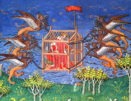 A 15th-century French manuscript illustration showing Alexander in a cage that is lifted into the air by six griffins.