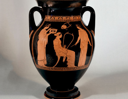 Play on: red-figure amphora with musical scene, attributed to the Niobid Painter, c.460-50 BC.