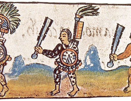 Aztec warriors as shown in the 16th-century Florentine Codex (Vol. IX). Each warrior is brandishing a maquahuitl.