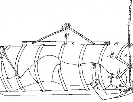 Copy of an original drawing, c.1730, in the Shetlands Museum showing the position of the diver in the barrel