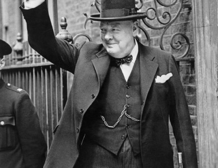 Winston Churchill giving the 'V' sign, on 20 May 1940.