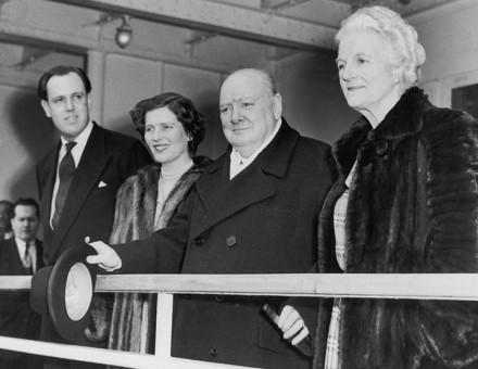 Churchill arrives with his family in the Queen Elizabeth, March 23rd, 1949.