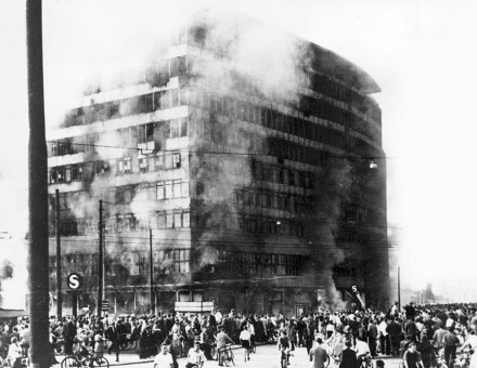 Columbus House on Potsdamer Platz in East Berlin burning after the demonstrations and riots, 17 June 1953. (Getty Images)