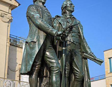 Weimar's statue of the poets and dramatists Goethe (left) and Schiller.
