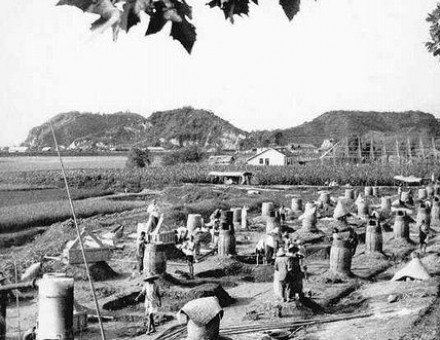 Backyard furnaces in China during the Great Leap Forward era.