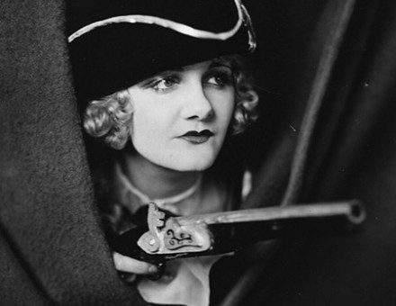 Evelyn Wrentan plays a highway-woman in the 1935 film, Hands Up.