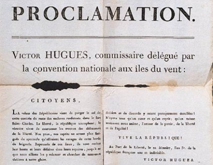 Proclamation by Victor Hugues abolishing slavery