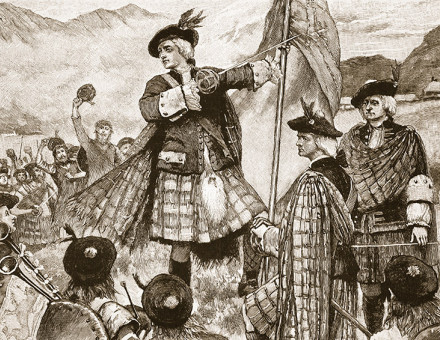 Highland fling: the Earl of Mar with the Stuart standard, 20th-century illustration.