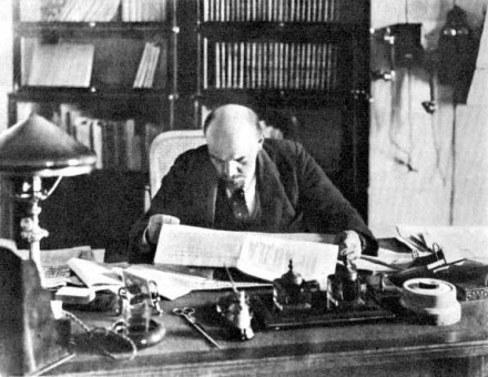 Lenin working in the Kremlin, 1918