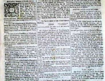 Lloyd's Evening Post front page, 10 August 1796