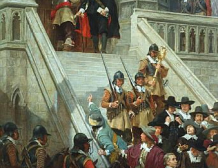 Oliver Cromwell dissolving the Long Parliament.