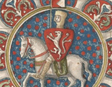 Simon de Montfort, in a drawing of a stained glass window found at Chartres Cathedral