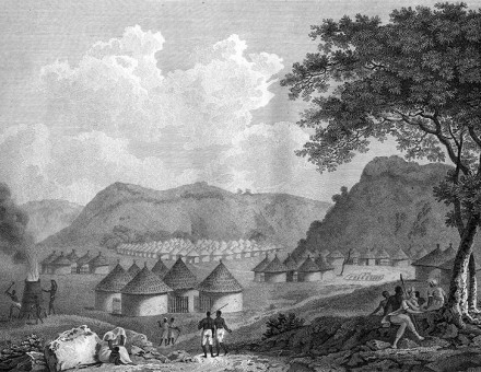 View of Kamalia in Mandingo country, Africa, from: Mungo Park, Travels in the Interior Districts of Africa