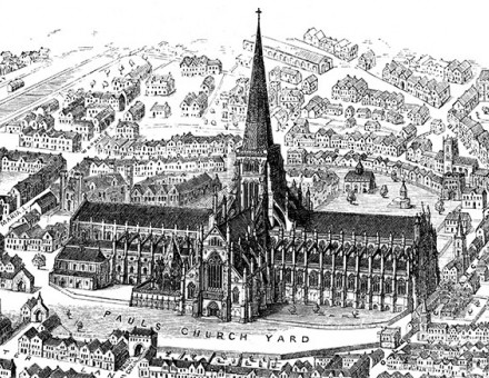 A 1916 engraving of Old St Paul's as it appeared before the fire of 1561.