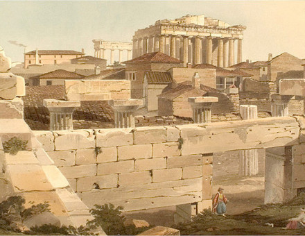 'View of the Parthenon from the Propylea', Edward Dodwell, Views in Greece, London 1821, depicting buildings of the time within the Acropolis