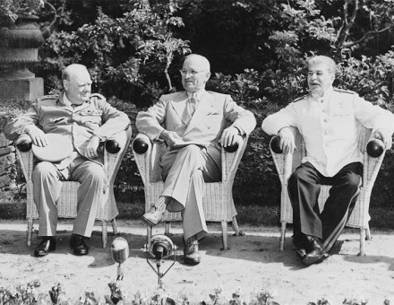 Winston Churchill, Harry S. Truman and Joseph Stalin at the Potsdam Conference, 1945.