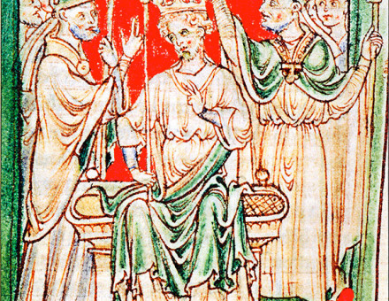 Richard I being anointed during his coronation in Westminster Abbey, from a 13th-century chronicle